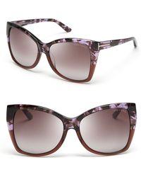 Tom Ford Carli Oversize Square Cateye Sunglasses purple - Lyst