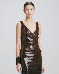 Donna Karan - 4 Leather Cuff Bracelet Brown - Lyst