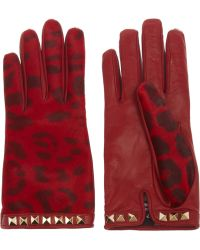 Valentino Calf Hair and Leather Gloves red - Lyst
