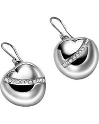 Breil - Heart Shaped Crystal Drop Earrings - Lyst
