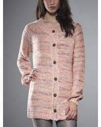 Patrizia Pepe Round Neck Cardigan in Wool Blend Yarn - Lyst