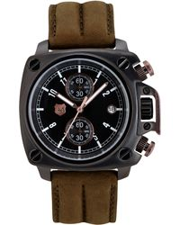 Andrew Marc - Mens Chronograph Heritage Cargo Sand Leather Strap 44mm - Lyst