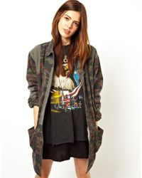 Asos Longline Camo Parka with Jersey Lining - Lyst