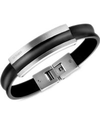 Breil | Stainless Steel and Black Leather Bracelet | Lyst