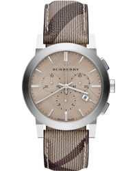 Burberry Mens Swiss Chronograph Smoke Check Fabric Strap 42mm - Lyst