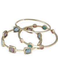 Carolee - Gold-tone Multi-color Crystal Bangle Bracelets - Lyst