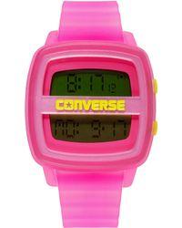 Converse - Unisex Digital Remix Pink Translucent Plastic Strap 43mm Vr028630 - Lyst