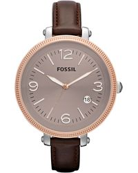 Fossil Womens Heather Brown Leather Strap 42mm - Lyst
