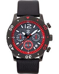 Izod - Izod Watch Unisex Chronograph Black Leather Strap 42mm Izs62blkred - Lyst