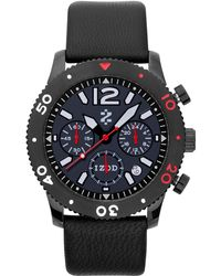 Izod - Watch, Unisex Chronograph Black Leather Strap 42Mm Izs6-4 Black-Red - Lyst