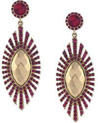 Jessica Simpson Gold Tone Fuchsia Stone Drop Earrings - Lyst