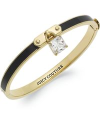 Juicy Couture -  Black Enamel and Clear Crystal Padlock Hinge Bangle Bracelet - Lyst