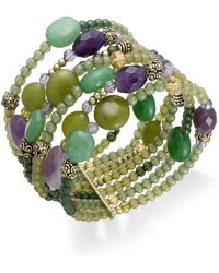 Lauren by Ralph Lauren - Goldtone Green and Purple Bead Multirow Stretch Bracelet - Lyst