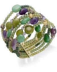 Lauren by Ralph Lauren - Goldtone Green and Purple Bead Multirow Stretch Bracelet - Lyst