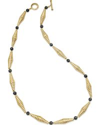 Lauren by Ralph Lauren - Gold Tone Twisted Black and White Beaded Necklace - Lyst