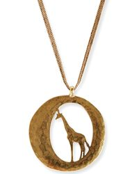 Lucky Brand Goldtone Giraffe Pendant Necklace - Lyst