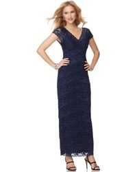 Marina - Short Sleeve Vneck Beaded Lace Evening Gown - Lyst