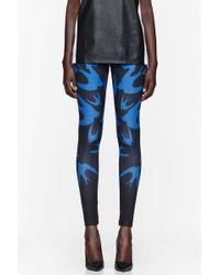 McQ by Alexander McQueen Royal Blue Swallow Print Leggings - Lyst