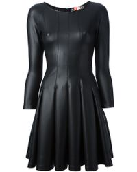 MSGM Pleated Faux Leather Dress - Lyst