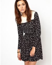 Orla Kiely - Printed Jersey Dress with Silk Bib and Cuff - Lyst