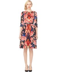 Oscar de la Renta 34 Sleeve Jewel Neck Dress - Lyst