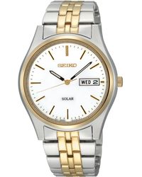 Seiko Mens Solar Two Tone Stainless Steel Bracelet 37mm Sne032 - Lyst