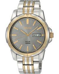 Seiko Mens Solar Two Tone Stainless Steel Bracelet 39mm Sne098 - Lyst