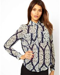 TFNC Oversize Shirt in Lace Print gray - Lyst