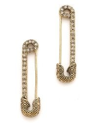 House of Harlow 1960 - Safety Pin Earrings with Sparkle - Lyst