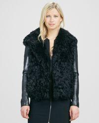 L'Agence - Leathersleeve Fur Coat - Lyst
