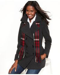 London Fog - Doublebreasted Pea Coat Plaid Scarf - Lyst