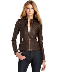 Michael Kors Quilted Leather Motorcycle - Lyst