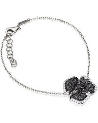 AS29 - Black Sapphire Pave Diamond Flower Bracelet - Lyst