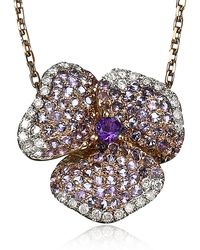 AS29 - Amethyst Pave Diamond Flower Necklace - Lyst