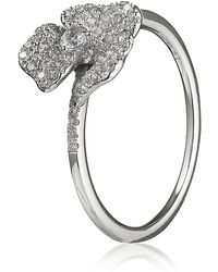 AS29 | White Diamond Mini Pave Flower Ring | Lyst