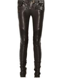 Balmain Leather Motocross-style Skinny Pants - Lyst