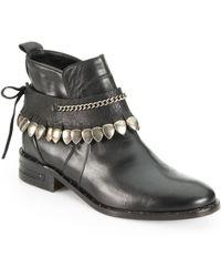 Frēda Salvador Star Leather Studded-Fringe Welt Ankle Boots - Lyst