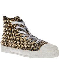 Gienchi Studded Leopard Print Hi-Top Sneaker - Lyst