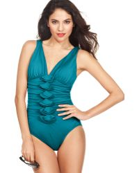 INC International Concepts - One Piece Ruffled Tummy Control Swimsuit - Lyst