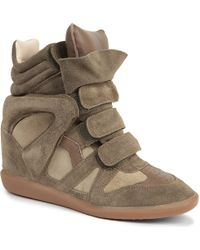 Isabel Marant Bekett Suede And Leather Wedge Trainers - For Women - Lyst