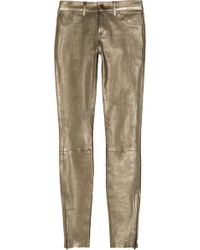 J Brand Metallic Stretch-leather Skinny Pants - Lyst