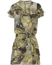 Skaist Taylor - Ruffled Butterflyprint Silkchiffon Dress - Lyst
