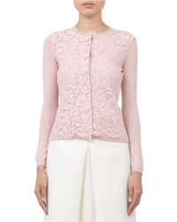 Valentino Lace-front Wool-blend Cardigan - Lyst