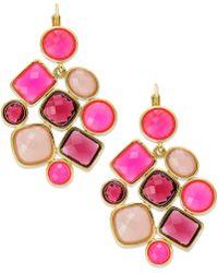 Kate Spade Kate Spade New York Earrings Goldtone Flo Pink Stone Chandelier Earrings - Lyst