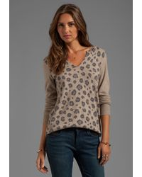 Rebecca Taylor Leopard Slit Sweater in Brown - Lyst