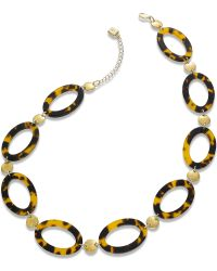 Lauren by Ralph Lauren - Goldtone Ovalshaped Tortoise Disc Necklace - Lyst