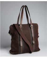 Berge' Dark Brown Washed Leather Large Tote - Lyst