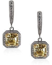 Carat* - Fancy Yellow Petite Asscher Drop Earrings - Lyst