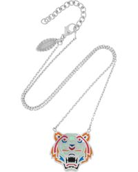 KENZO - Tiger Enamelled Silver Necklace - Lyst