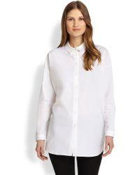 Paule Ka - Collared Stretch Poplin Shirt - Lyst